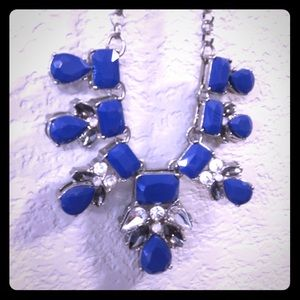 Blue and silver bib necklace